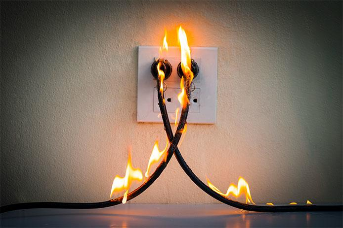 Extension Cords on fire