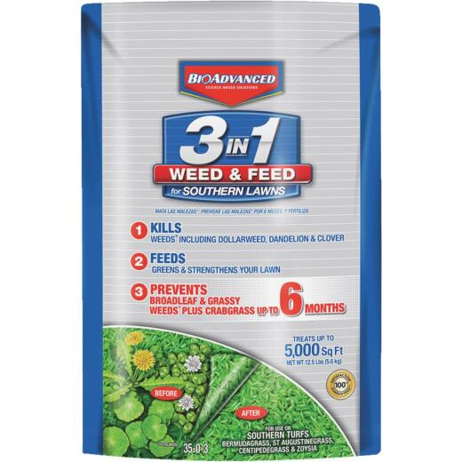 BioAdvanced 3-In-1 Weed & Feed For Southern Lawns 12.5 Lb. 5000 Sq. Ft. 35-0-3 Lawn Fertilizer with Weed Killer